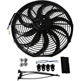 "Universal 16"" High Performance 3000CFM Electric Cooling Radiator Fan With Fan Mounting Kit Reversible S Blade"