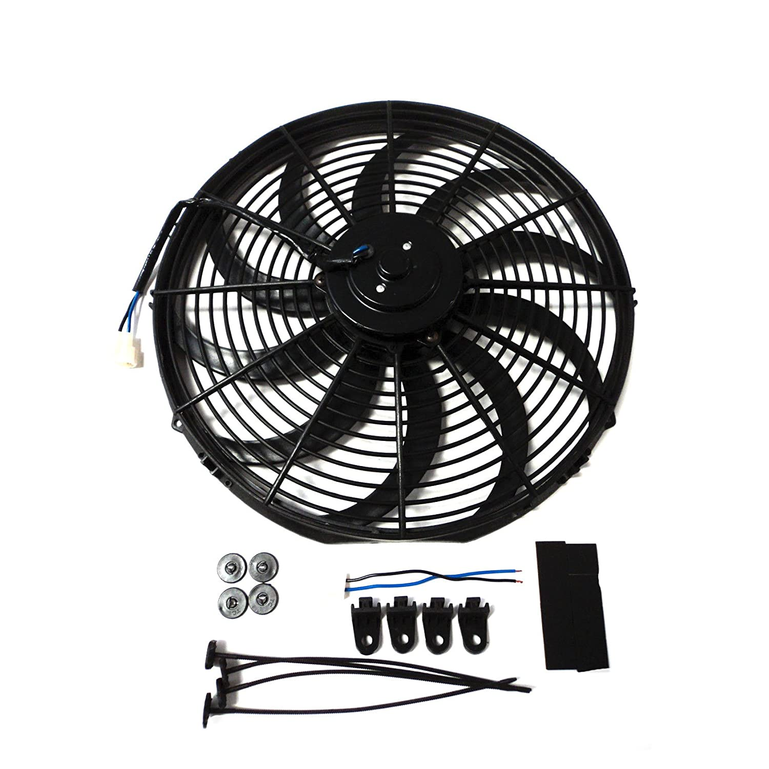 Universal 16' High Performance 3000CFM Electric Cooling Radiator Fan With Fan Mounting Kit Reversible S Blade DEMOTOR