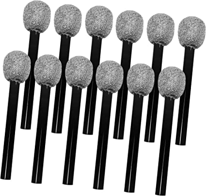 4 Packs Silver Glittered Microphone Pretend Toy Microphone for Party Favors Decoration