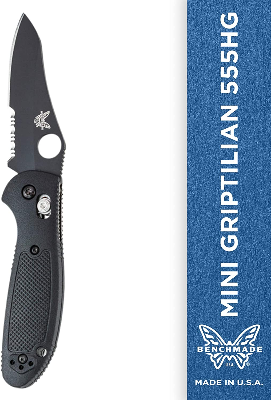 Benchmade – Mini Griptilian 555HG, Serrated Sheepsfoot, Coated Finish, Black Handle