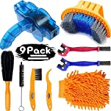 focopot Bicycle Cleaning Tools Set (9PCS), Bike Clean Brush Kit Including Bike Chain Scrubber for Mountain, Road, City, Hybri