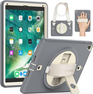 SEYMAC iPad 6th Generation Case iPad 9.7 inch Case with Screen Protector Pencil Holder,360 Degree Rotatable Stand & Hand Strap,Shoulder Strap,Shockproof Sturdy Case for iPad Pro 9.7/Air 2 Beige/Grey