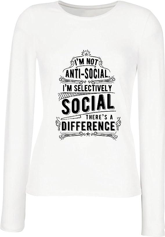 lepni.me Camisetas de Manga Larga para Mujer No Soy Antisocial Solo selectivamente Social, Gracioso Diciendo, Citas de Humor sarcástico: Amazon.es: Ropa y accesorios