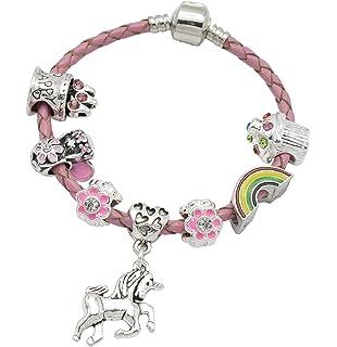Bracelet à breloques licorne d\u0027anniversaire en cuir rose pour fille avec  boîte cadeau et