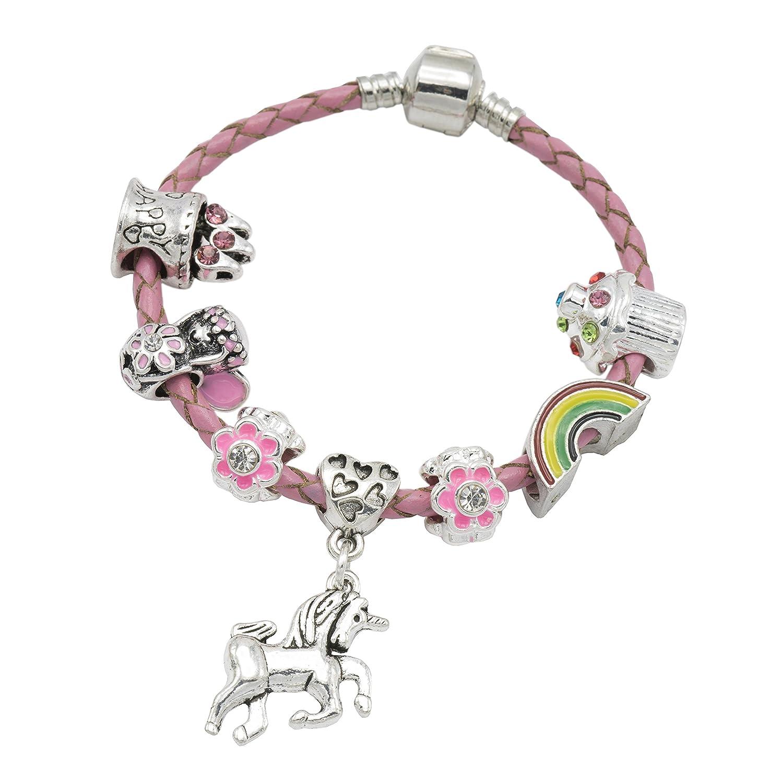 787e851ad Girl's Pink Leather Unicorn Birthday Charm Bracelet with Gift Box and  Unicorn Insert (16): Amazon.co.uk: Jewellery