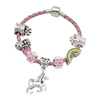 5e0247a33 Girl's Pink Leather Unicorn Birthday Charm Bracelet with Gift Box and  Unicorn Insert (16): Amazon.co.uk: Jewellery