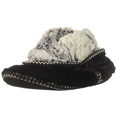 Dearfoams Women's Faux Fur Foldown Boot Slipper, Black, XL Regular US   Slippers
