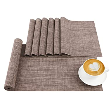 AwesomeWare Placemat, PVC Table Mats Sets 6 & 1 Table Runner, Non-Slip Washable Table Placemats Coffee Mats Dining Table