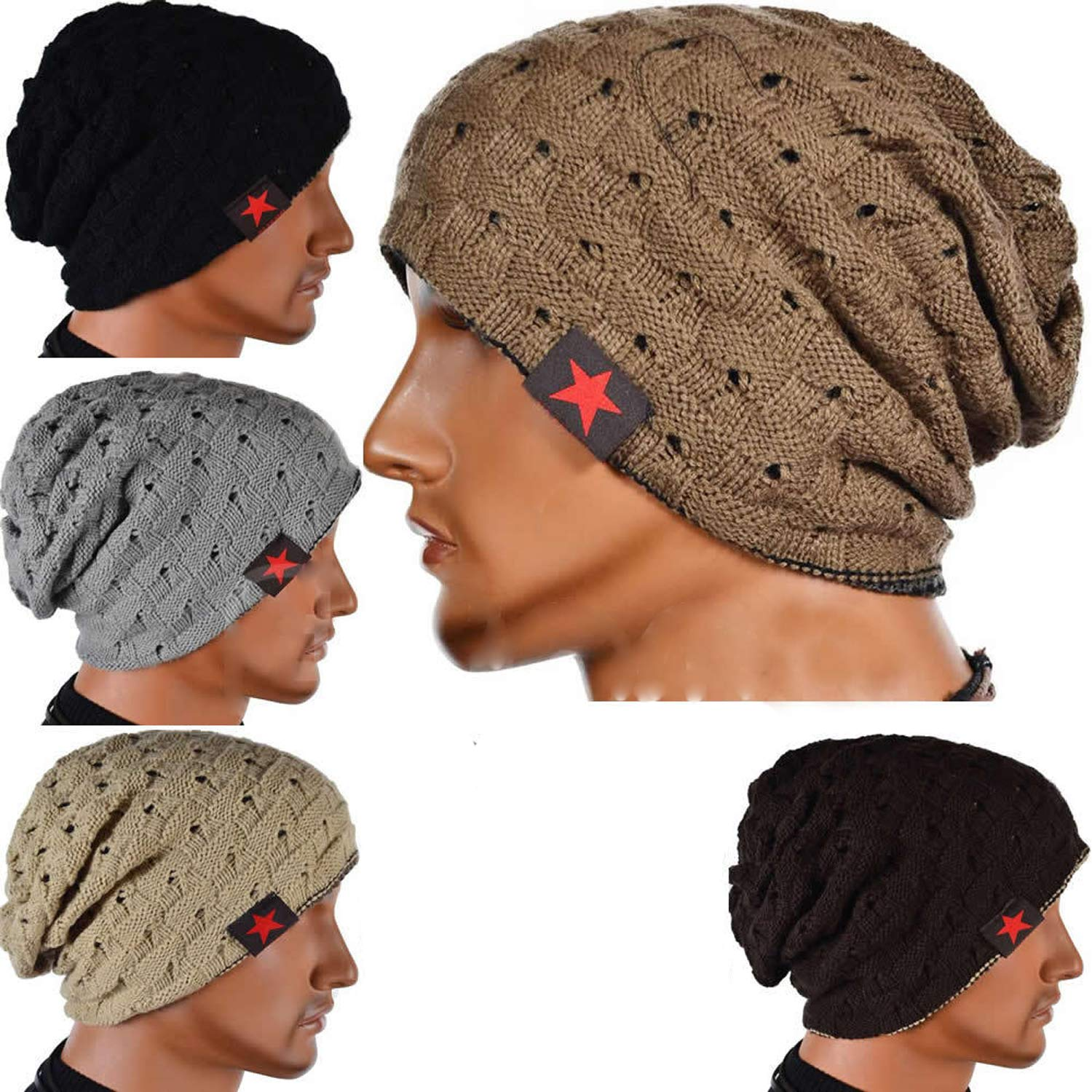 Amazon.com  ZHW Men s Knit Hats Male Heap Cap Wool Caps Autumn Winter  Outdoor Fashion Baotou Hats (4 Pack)  Sports   Outdoors 3807375ea37