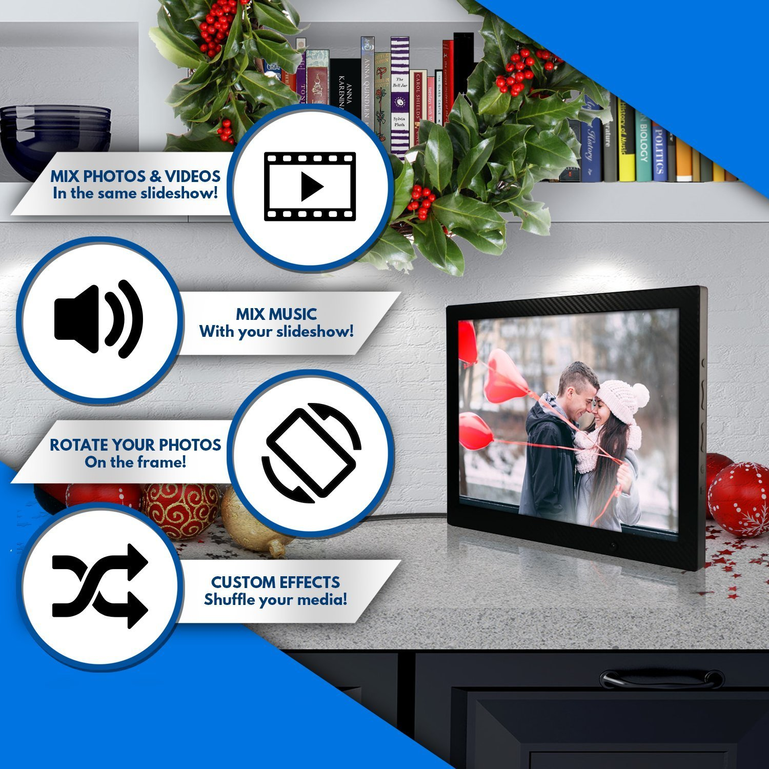 12 inch HD Digital Picture Frame Carbon Fiber - 1080p High Definition Electronic Photo Frame With Video, 16GB Memory, Motion Sensor, Built-In Speakers & Remote Control - (Black) by Spiro Goods (Image #4)