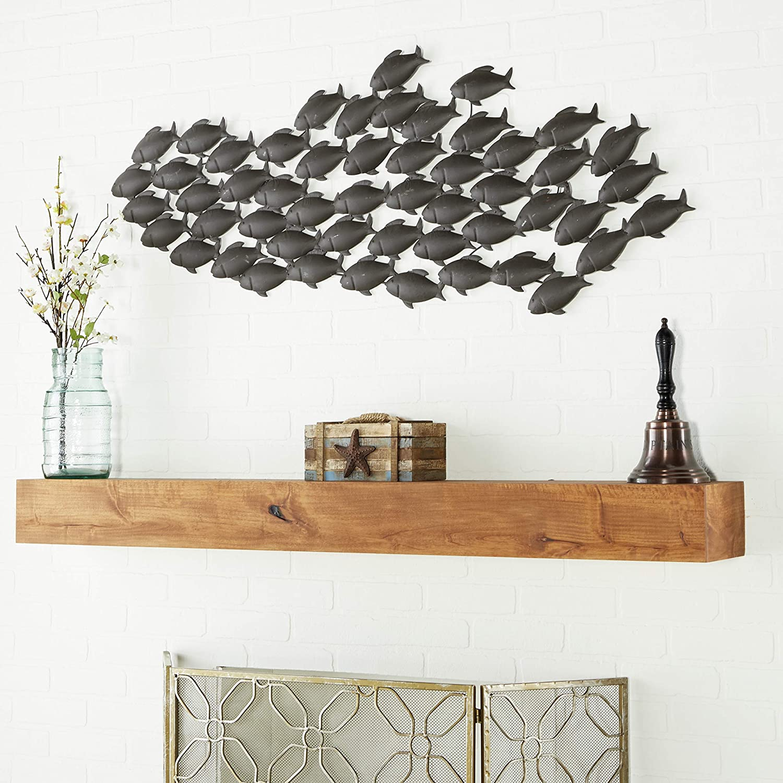 Deco 79 Metal Fish Wall Decor, 53 by 20-Inch, School Of Fish