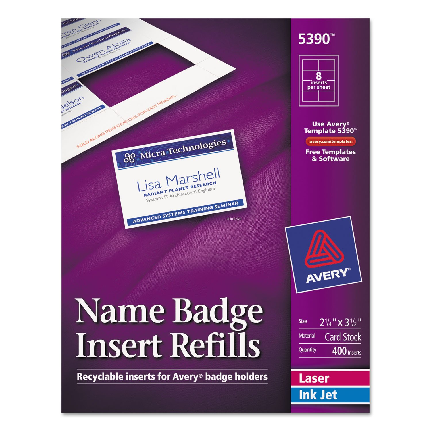 Avery 5390 Insert Badge Refill, Fits 2-1/4-Inch x3-1/2-Inch, 8/Sht, 400/BX, WE by Reg