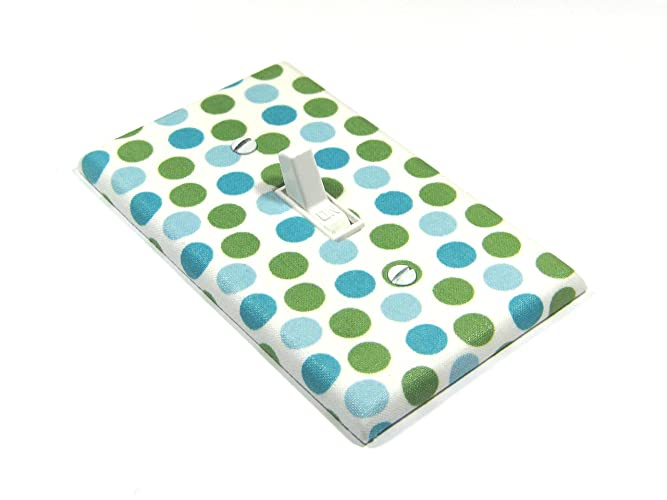 Amazoncom Blue And Green Polka Dots Light Switch Cover Handmade