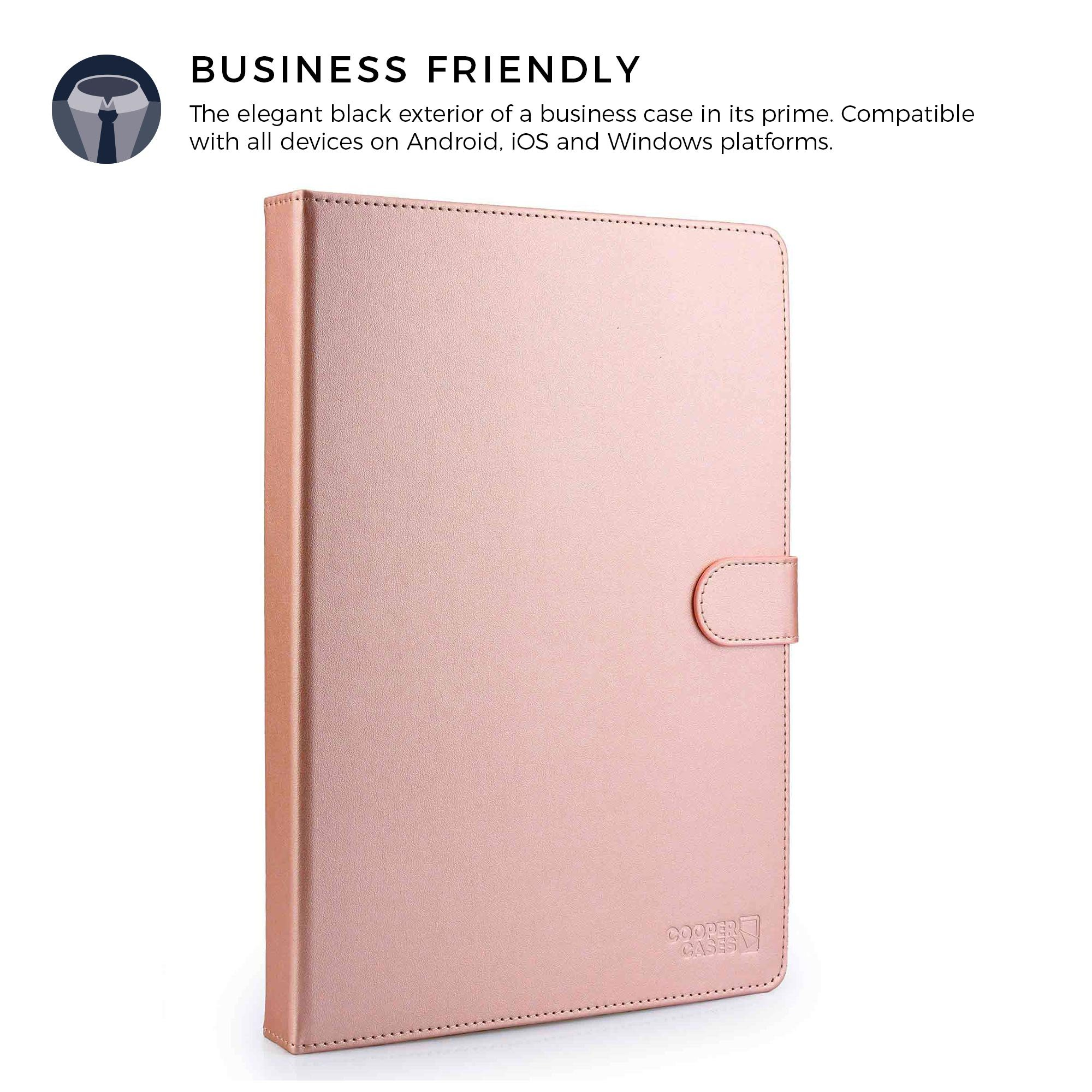 COOPER BACKLIGHT EXECUTIVE Keyboard case for 9'', 10'', 10.1'' inch tablets   2-in-1 Bluetooth Wireless Backlit Keyboard & Leather Folio Cover   7 Color LED Keys, 100HR Battery, 14 Hotkeys (Rose Gold) by Cooper Cases (Image #5)