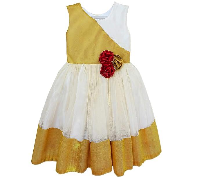 de9ec8cda2 Stanwells kids Baby Girl's Silk Kerala Kasavu Frock (Golden and Cream, 6 -12