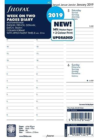 Filofax 19 – 68514 A5 Semana en dos páginas 5 Idioma 2019 citas ...