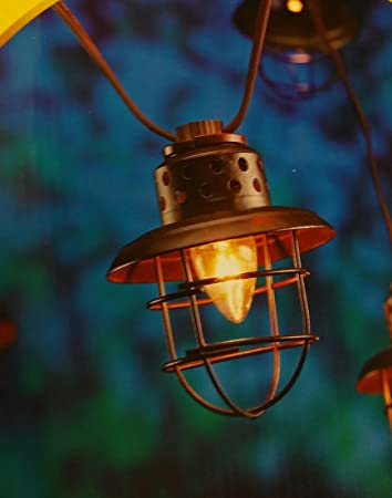 Indoor Outdoor String Lights 10 Count Caged Lantern Lamp Sylvania