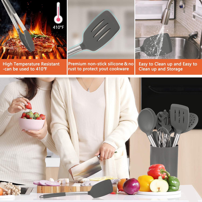 Set di spatole in Silicone Grigio 14 Pezzi AILUKI Set di stoviglie in Silicone Utensili da Cucina con Manico in Acciaio Inox antiaderenti Resistenti al Calore Utensili da Cucina