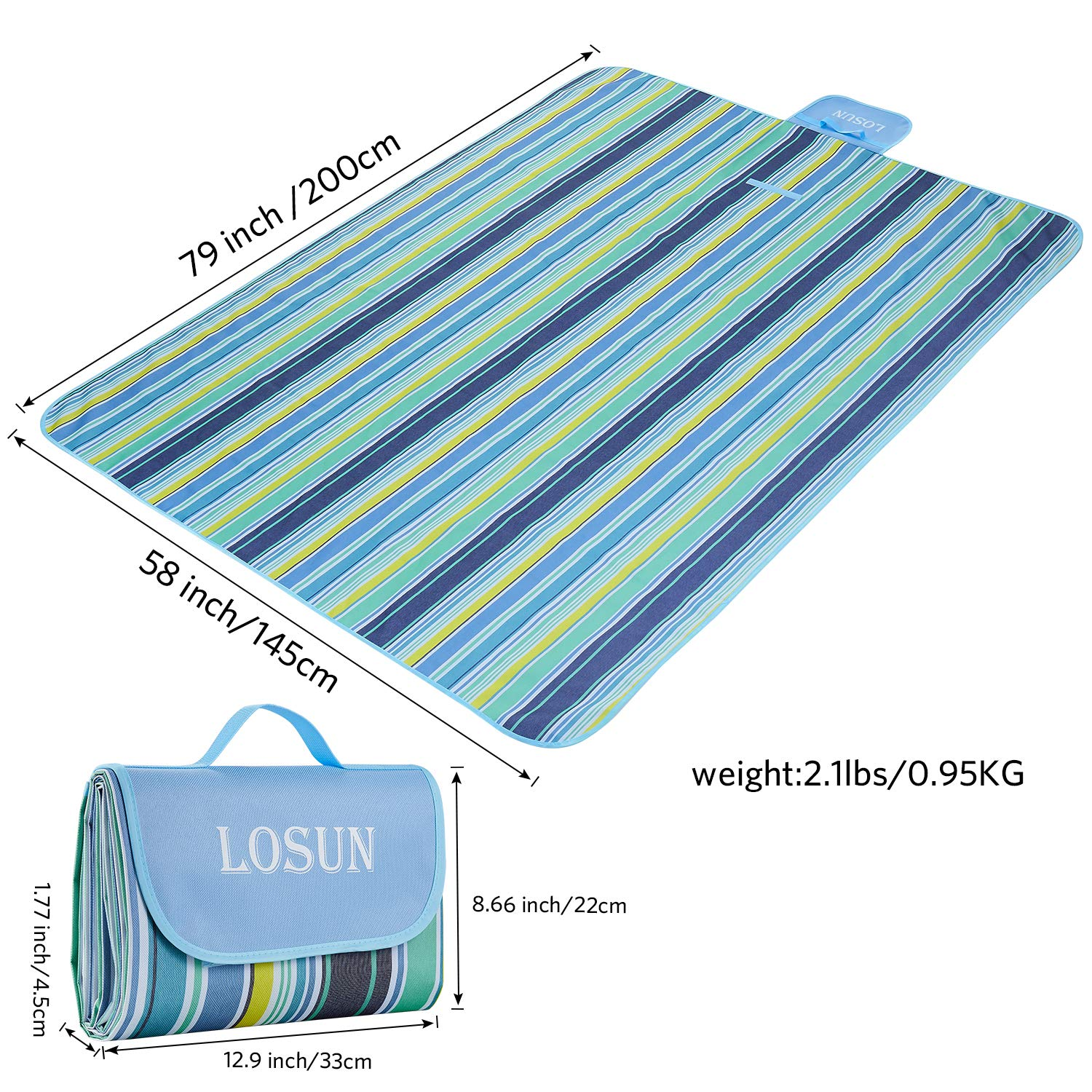 79x58 losun Extra Large Picnic Blanket /& Outdoor Blanket Waterproof Sandproof Extra Portable Beach Handy Mat with Strap for Home,Camping,Hiking Beach,Park Picnic