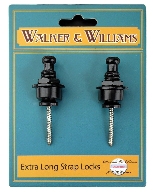 Walker /& Williams Extra Long Deep Barrel Black Strap Locks for Thick Guitar Straps