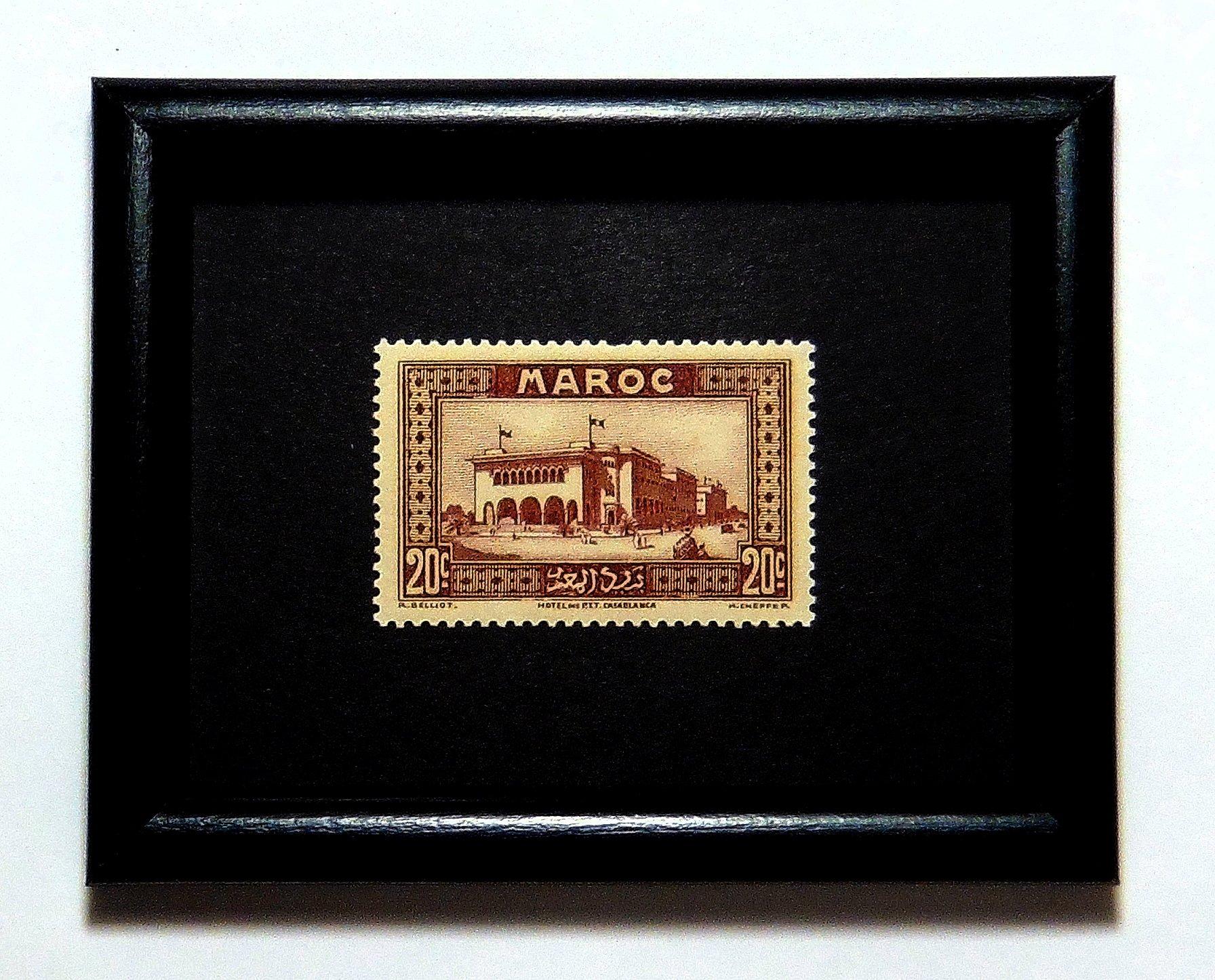 Hotel Casablanca Architectural Maroc -Handmade Framed Postage Stamp Art 20277AM