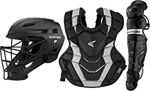 Easton Elite X Baseball Catchers Equipment Box Set   2020   Large Helmet   Chest Protector w/Commotio Cordis   Leg Guards   NOCSAE Approved All Levels of Play