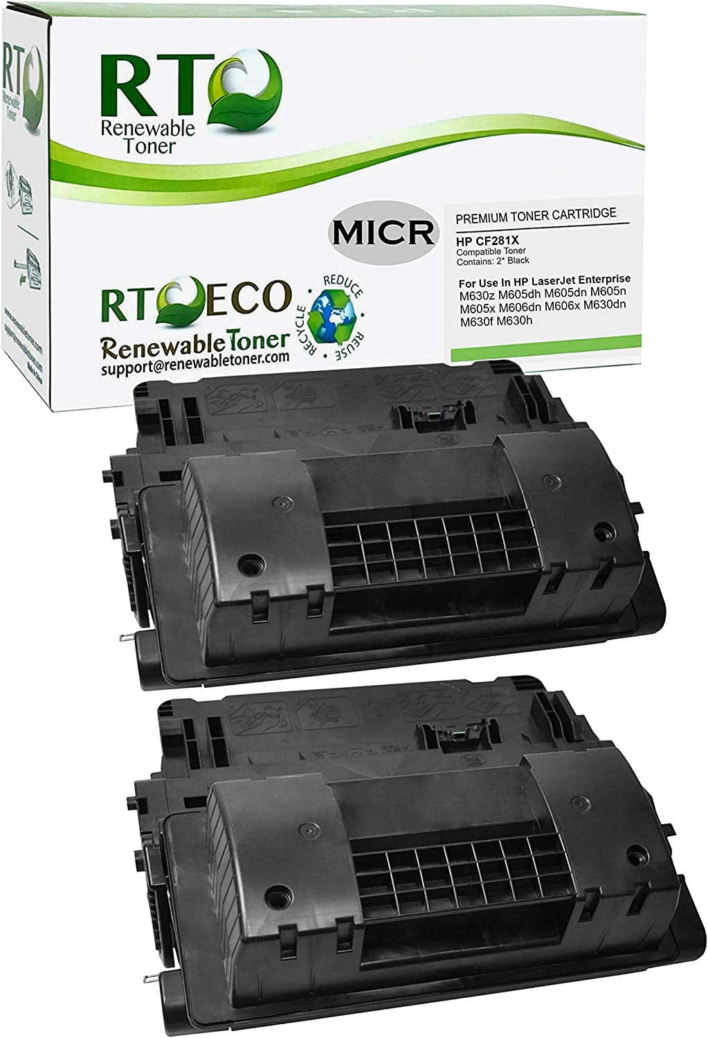 Renewable Toner Compatible MICR Toner Cartridge Replacement for HP 81X CF281X LaserJet Enterprise M605 MFP M630 Black, 2-Pack