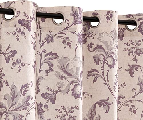 Topick Victoria Floral Scroll Printed Linen Curtains,Grommet Top – Ikat Flax Textured Flower Design Curtains Retro Living Room Window Treatment Lilac, 84 inch Long, 2 Panels