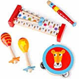 "Toddler Toys Wooden Musical Instruments - ""Band in a Box"" 4 Piece Wooden Musical Toys for Kids"