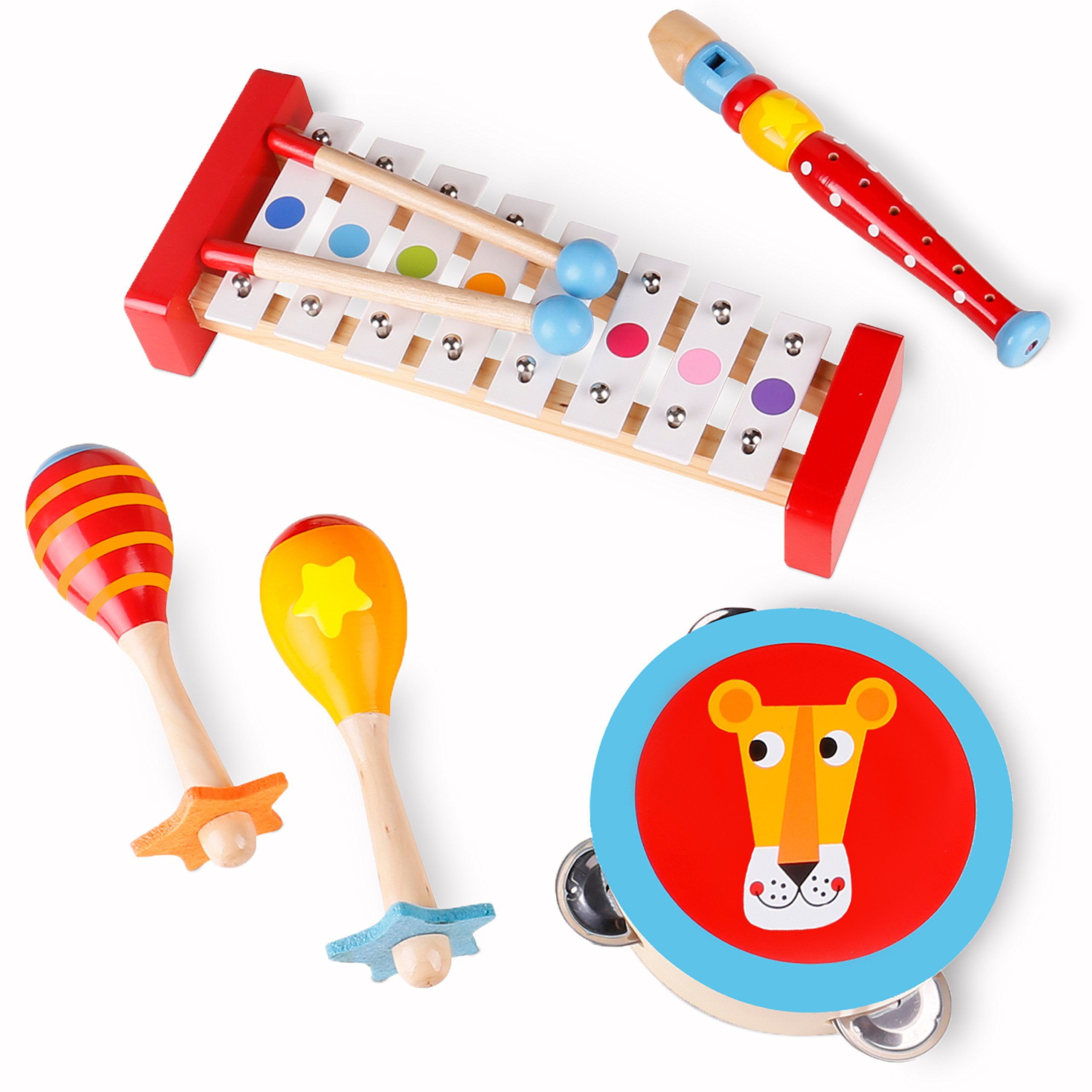 """USA Toyz Toddler Toys Wooden Musical Instruments - """"Band in a Box"""" 4 Piece Wooden Musical Toys for Kids"""