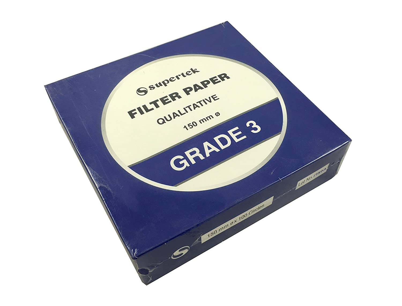 Supertek Filter Paper, Qualitative, Grade 3, 150 mm (Diameter) Pack of 100 sheets