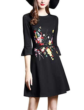 e8b9e2505 DanMunier Women's 3/4 Sleeve Solid Embroidery Casual Party A-Line Dress  #7710
