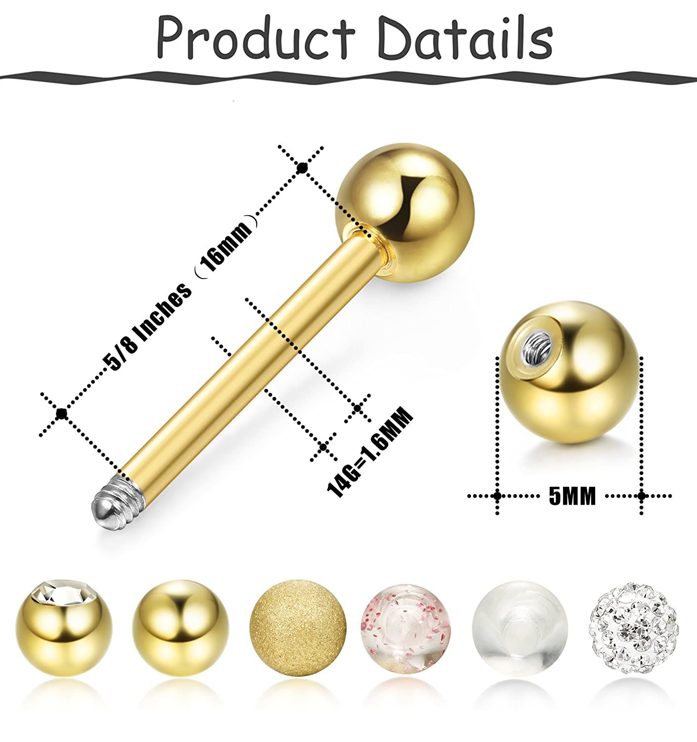 1 x BARBELL BAR 14g x 18mm TONGUE PIERCING 316L STAINLESS STEEL