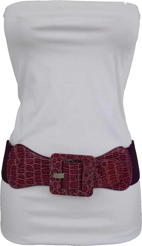 TFJ Women Fashion Stretch Belt Waist Hip Square Buckle M L XL Purple Pink
