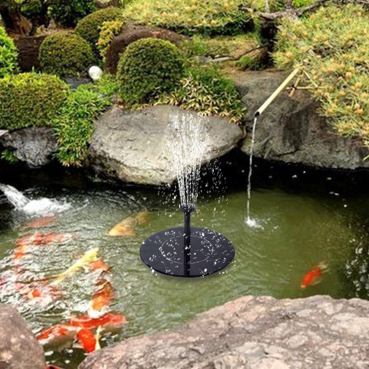 Solar Springbrunnen Garten mit Batterie,KidsHobby Solar Teichpumpe 1.5W Schwimmende Solar Font/äne Solar Wasserpumpe f/ür Gartenteich oder Springbrunnen Vogel-Bad Fisch-Beh/älter