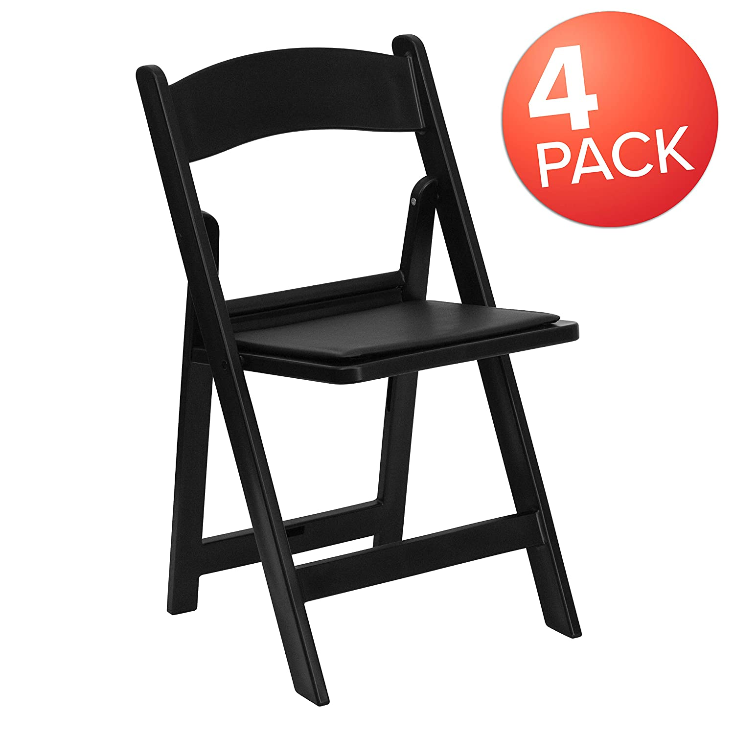 Flash Furniture 4 Pk. HERCULES Series 1000 lb. Capacity Black Resin Folding Chair with Black Vinyl Padded Seat
