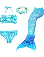 LAO&HAI Girls Mermaid Tail for Swimming and Flower Headband 4 Piece