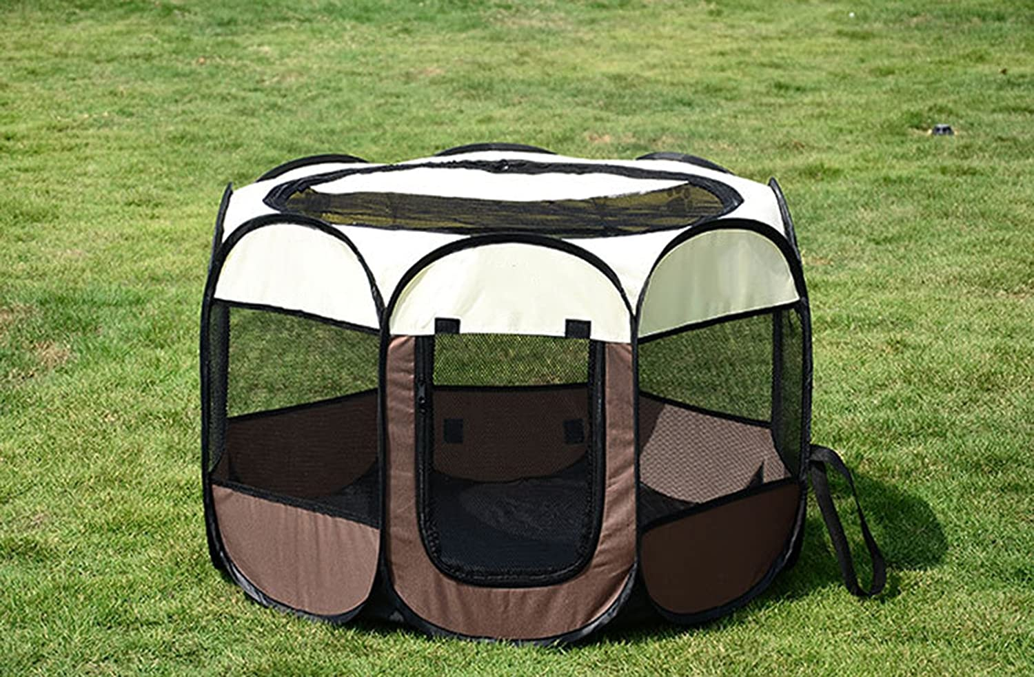 Brown+Beige Removable and Washable Folding Octagonal pet Fence Oxford Cloth Waterproof and ScratchResistant Dog Tent EightSided cage
