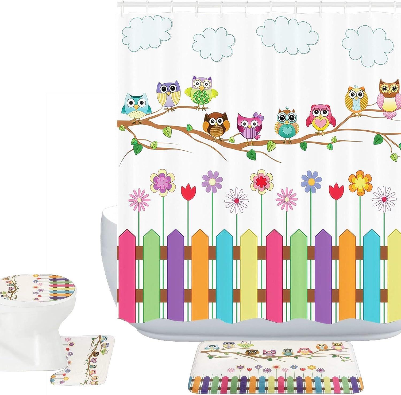 Amagical 16 Piece Owls Decor Bathroom Mat Set Shower Curtain Set Owls on a Branch Sunny Day Countryside Farmhouse Fences Wildflowers Bath Mat Toilet Cover Contour Mat Shower Curtain with 12 Hooks