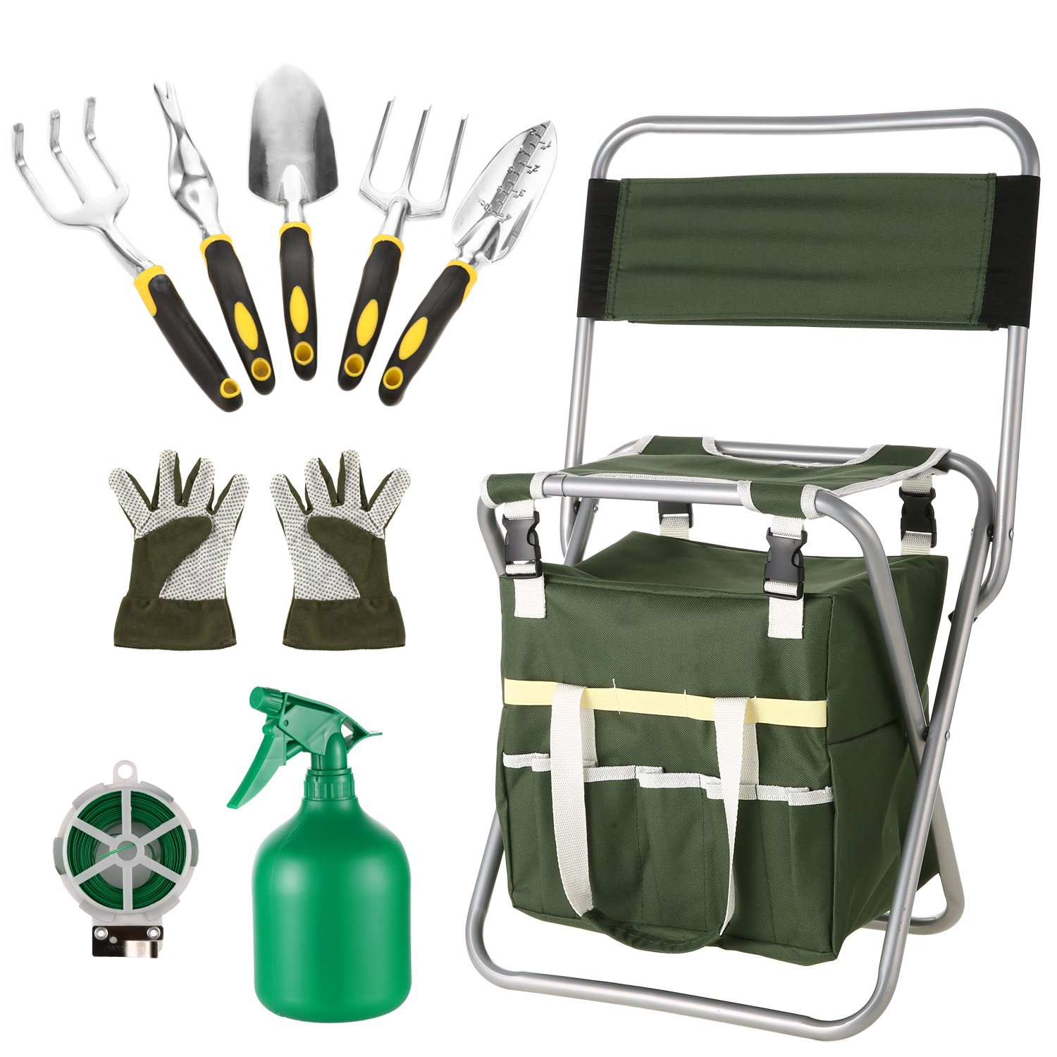 Moroly 10 Piece Garden Tool Set with 5 Sturdy Stainless Steel Tools,Heavy Duty Folding Seat Stool with Backrest,Detachable Canvas Tote,Best Gardening Gifts Tool Set