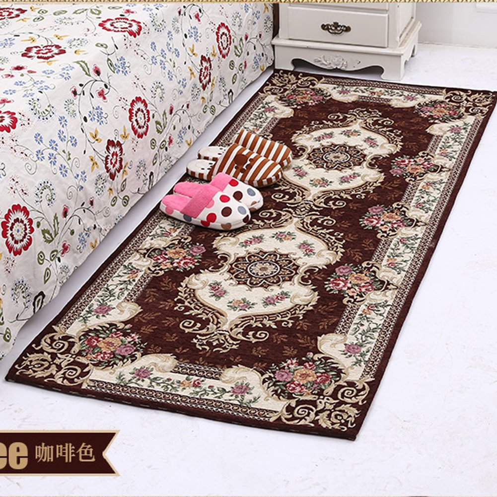 KEYAMA 1 piece High-grade (29.5Wx70.9L) Flower Acrylic Non-Slip floor comfort area rug Home hallway decorative area runner Bedroom decorative area rug Fashion Doormat. (29.5x70.9, Brown) Zaka Household Articles