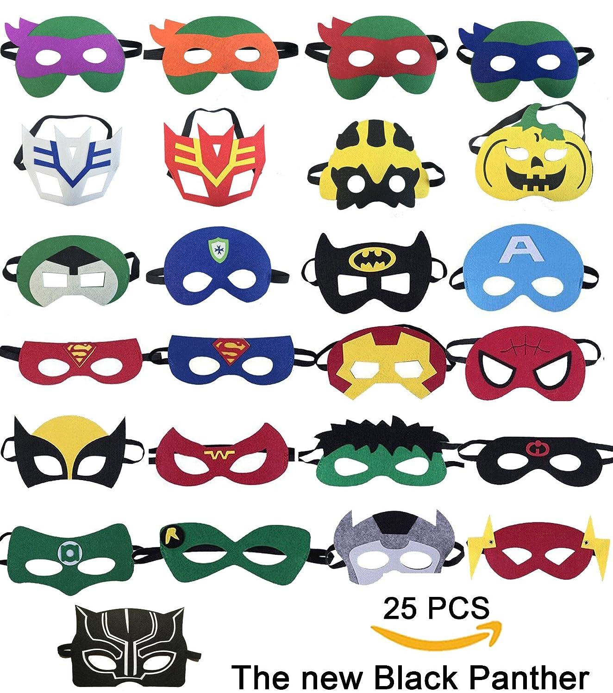 25 Superhelden-Party-Masken,Tmtt und Black Panther Cartoon Maske ...