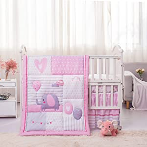 La Premura Baby Elephant Nursery Crib Bedding Set for Girls – Pink Elephant & Love Balloons 3 Piece Standard Size Crib Set, Pink & Gray