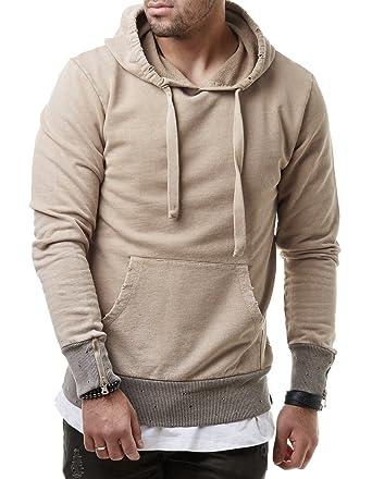 EightyFive Herren Hoodie Kapuzenpullover Sweater Destroyed Zipper Look  Schwarz Stone Pink EF3346, Größe S 82d89d9ab6