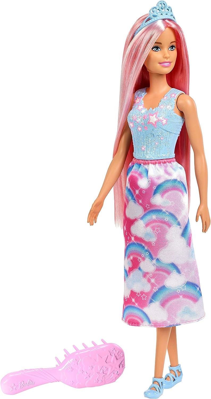 7inch Mermaid Princess Doll with Pink Swinging Fishtail Black Hair Wig Kids