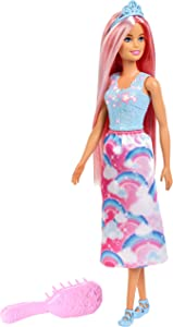 Barbie Doll, Rainbow Princess Look with Extra-Long Pink Hair, Plus Hairbrush, for 3 to 7 Year Olds