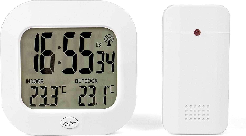 Tecvance Tv 3946 Temperaturstation Mit Funkuhr Und Außensensor Innen Und Außentemperaturanzeige C F Weckalarm Snooze Weiß Garten