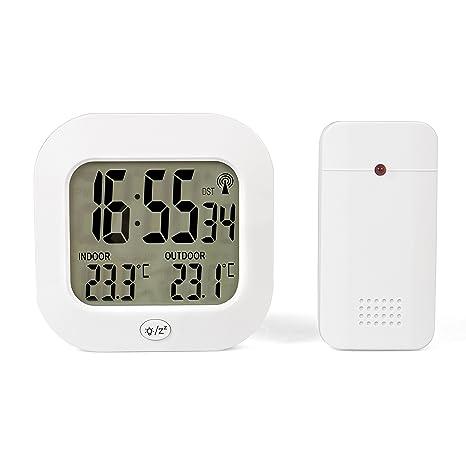 TECVANCE TV-3946 Estación de Temperatura con Reloj Radio controlado y Sensor Exterior Blanco 11x11x3