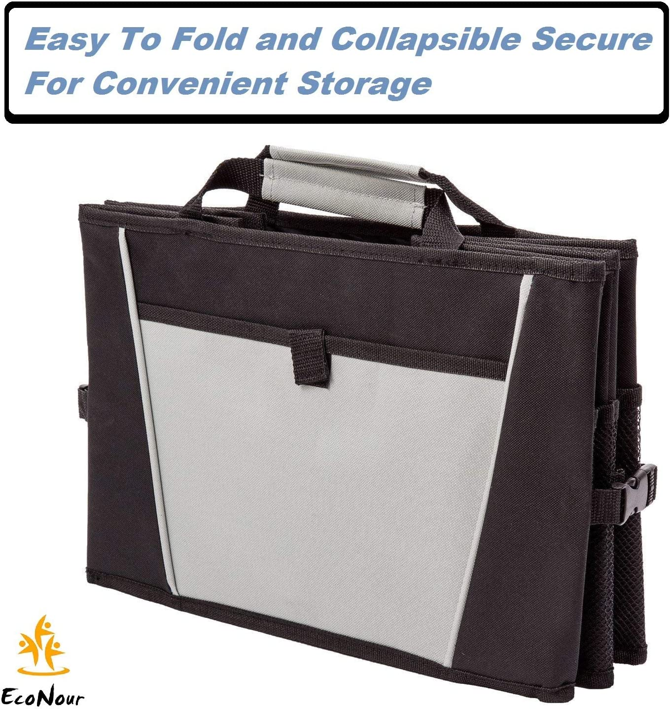 Portable Cargo Carrier Caddy for Car Truck SUV Van EcoNour Auto Trunk Storage Organizer Collapsible Storage Container Bin with Pockets 21 x 15 x 10 Folding Bag