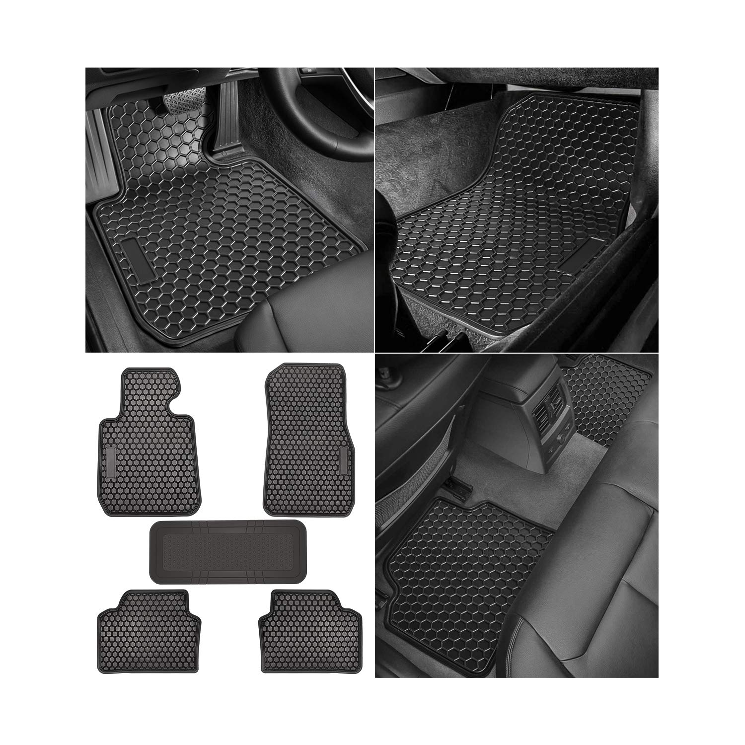 Pack of 5 Bonbo Floor Liner Mats for Nissan Rogue 2014-2019,Custom Fit,Front and Rear Seat Floor Mats,Heavy Duty Rubber,Odorless,All Weather Guard